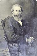 Tintype, touch of gray hair - stock photo