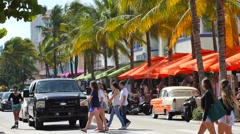 Ocean Drive Miami Beach 4k video Stock Footage