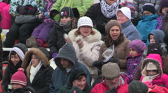 CP holiday Christmas train in Cambridge Ontario Stock Footage