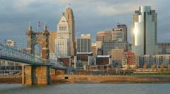 4K Cincinnati Riverfront Skyline 8 Stock Footage