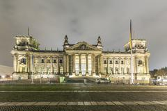 Stock Photo of reichstag or bundestag building in berlin, germany, at night