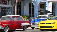 classic cars miami beach 4k video - stock footage