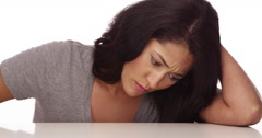 Mexican woman feeling sad - stock footage
