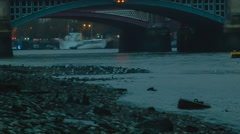 London Thames after sunset, strand, Blackfriars Bridge - stock footage