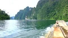 Rafting on the lake Ratchaprapa Surat Thani, Thailand Stock Footage