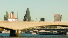 Waterloo bridge at daytime, City of London in the background Stock Footage