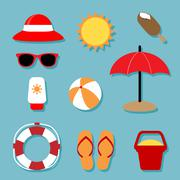 Summer Relaxing Icons Set - stock illustration