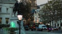 Trafalgar Square, King George IV Statue Stock Footage