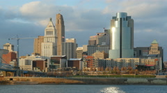 4K Cincinnati Riverfront Skyline 5 Stock Footage