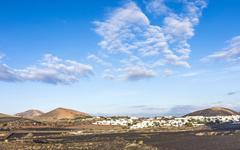 view to uga, rural village in lanzarote - stock photo