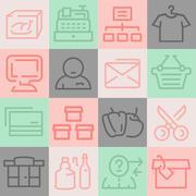 Supermarket Icons Set - stock illustration