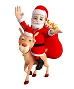 illustration of Santa and reindeer is saying hi - stock illustration