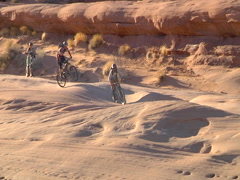 A Pair of Moab Mountain Biker Gettin' it done Stock Footage