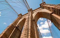 Powerful structure of Brooklyn Bridge Center Pylon on a beautifu - stock photo