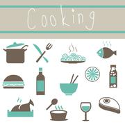Love Cookware Icons Set - stock illustration