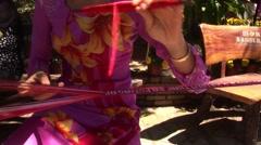Asian women Weaving Stock Footage