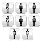 Christmas nutcracker - soldier figurine grey buttons set Piirros