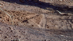 Mountain Bike Wheel Hits Sandy Corner Low Slo Mo Stock Footage