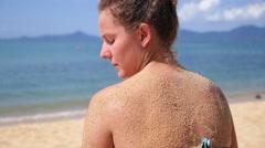 Beach Holidays Woman Enjoying Sun at Sea. Slow Motion. Stock Footage