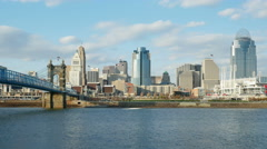 4K Cincinnati Riverfront Skyline 2 Stock Footage