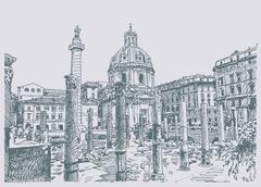 Sketch hand drawing of Rome Italy famous cityscape Stock Illustration