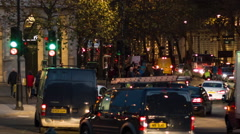 Traffic at Charing Cross after sunset Stock Footage