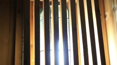 Wooden lamp in sauna room. HD. 1920x1080 - stock footage