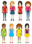 Faceless little girls without faces - stock illustration