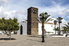 typical canary style white church building in la oliva village - stock photo