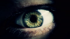 Mysterious creepy blue green hazel human eye close up macro Stock Footage