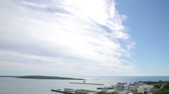 Mackinac Island Bay Panorama Stock Footage