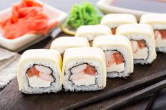Sushi rolls with shrimps and cheddar cheese Stock Photos