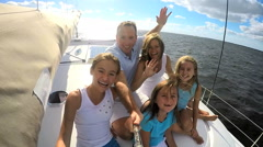 Caucasian Family Luxury Lifestyle Yacht Tourism Health Insurance Video Selfie - stock footage