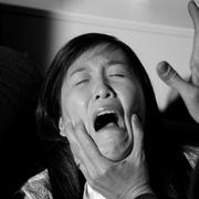 Woman being abused domestic violence crying Stock Photos