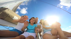 Healthy Caucasian Parents Daughters Outdoor Living  Luxury Yacht Selfie Friends Stock Footage