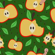 seamless pattern with apples on the green background - stock illustration