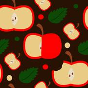 Seamless pattern with apples on the brown background Stock Illustration