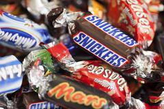 Snickers, mars, milky way, galaxy, bounty, maltesers teasers Stock Photos