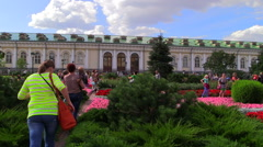 Tourists walk in the Alexander Garden near the Red Square. - stock footage