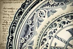 genuine ancient dutch blue and white porcelain dishware - stock photo