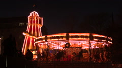 Old Carousel at Christmas Stock Footage