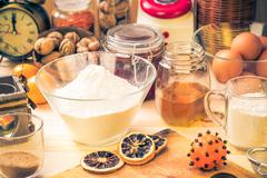 Ingredients preparation iced christmas gingerbread kitchen table Stock Photos
