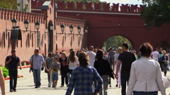 Peoples walk in the Alexander Garden near the Red Square. - stock footage