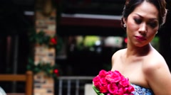 Lady Fiancee holds bouquet - stock footage