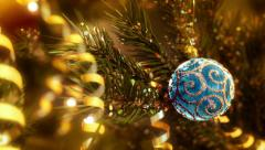 Red Christmas ball and tree Stock Footage