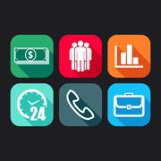 flat icons for web and mobile applications with business signs - stock illustration