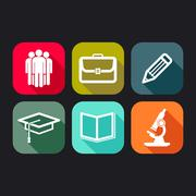 Flat icons for web and mobile applications with business, education signs Stock Illustration