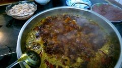 Boiling hot pot, so called huoguo, a famous traditional dish in Chengdu. Stock Footage