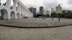 View of the Famous Lapa Arch (Arcos da Lapa) in Rio de Janeiro, Brazil Stock Footage
