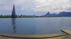 View of Lagoa Rodrigo de Freitas in Rio de Janeiro. Brazil Stock Footage